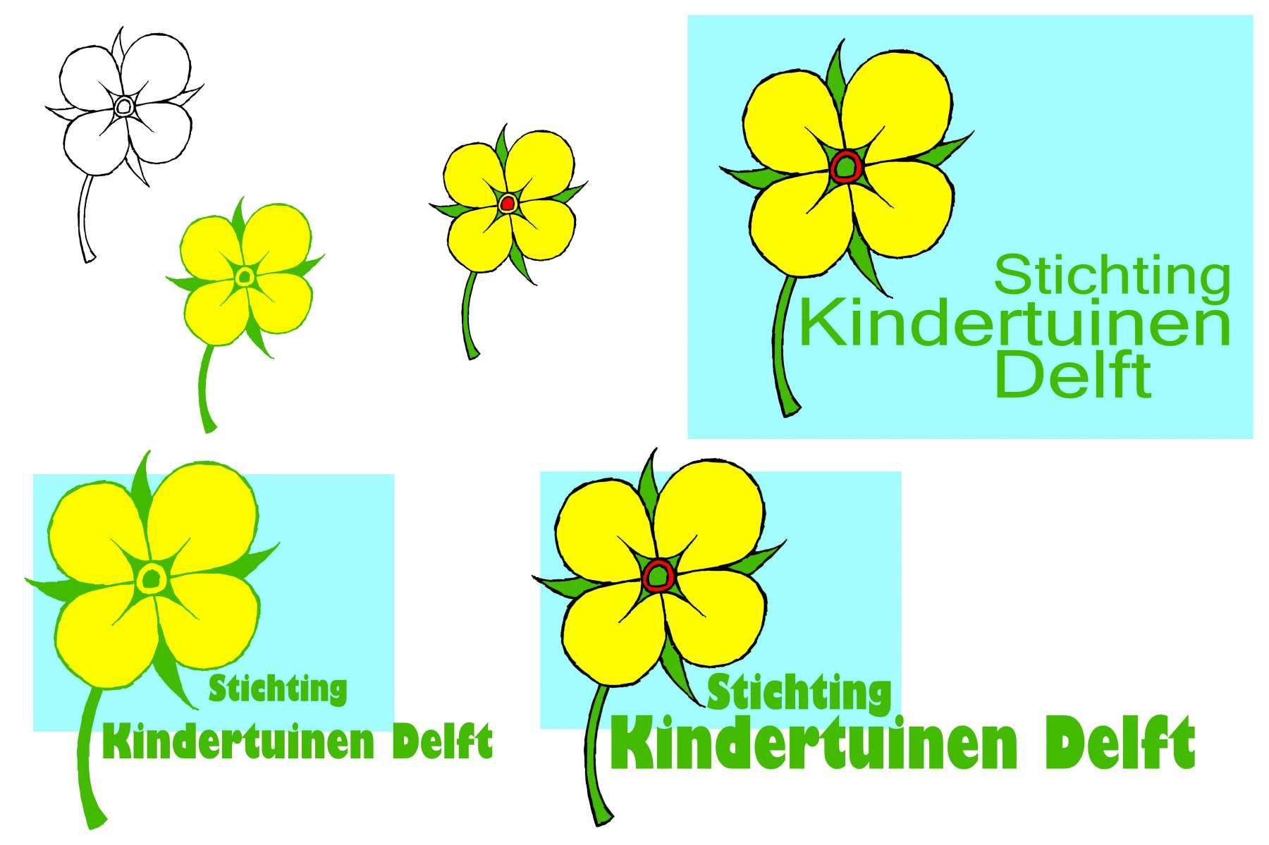 Stichting Kindertuinen Delft - vignet en vlag<br>Vijf kindertuinen op verschillende locaties hebben ieder hun eigen bloem als kenmerk. De bloem in het logo moest een combinatie van deze bloemen zijn.