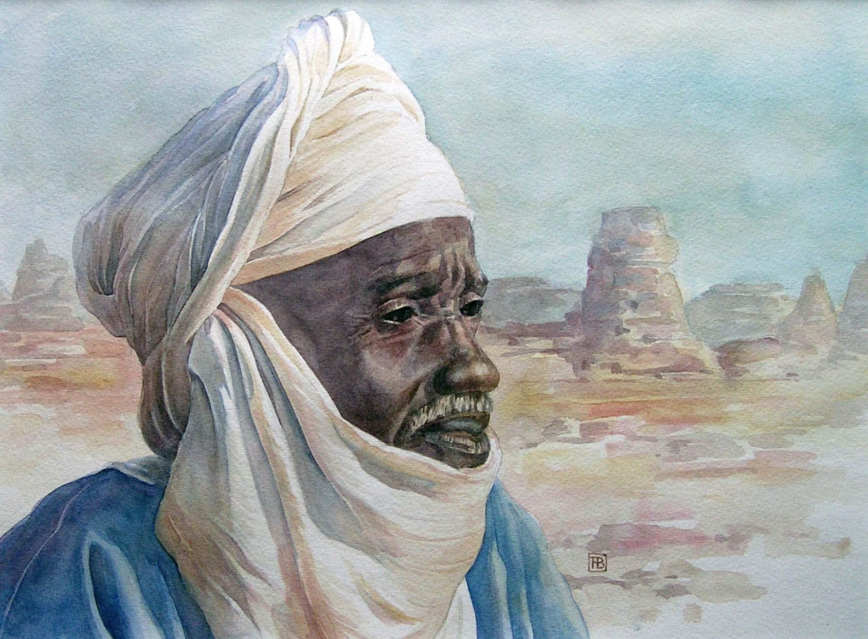Portret van een Touareg -2 - aquarel - 50 x 40 cm.