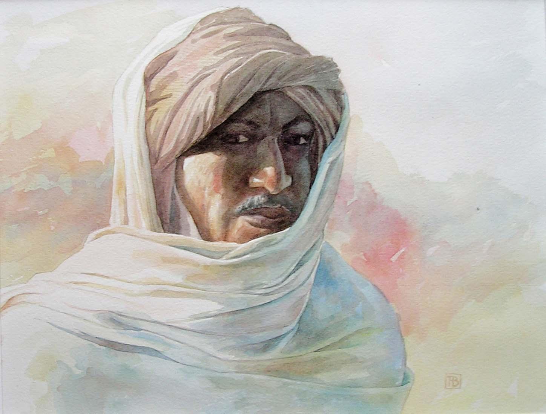 Portret van een nomade -2 - aquarel - 26 x 20 cm.