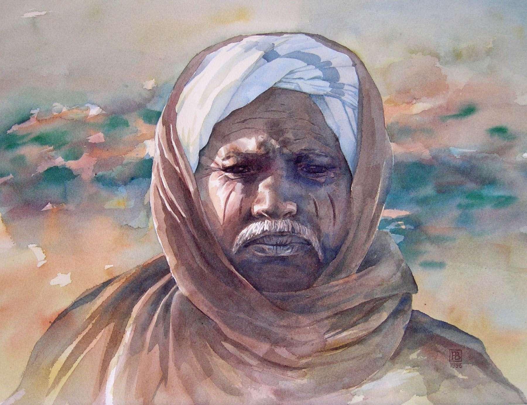 Portret van een nomade -1 - aquarel 60 x 50 cm.