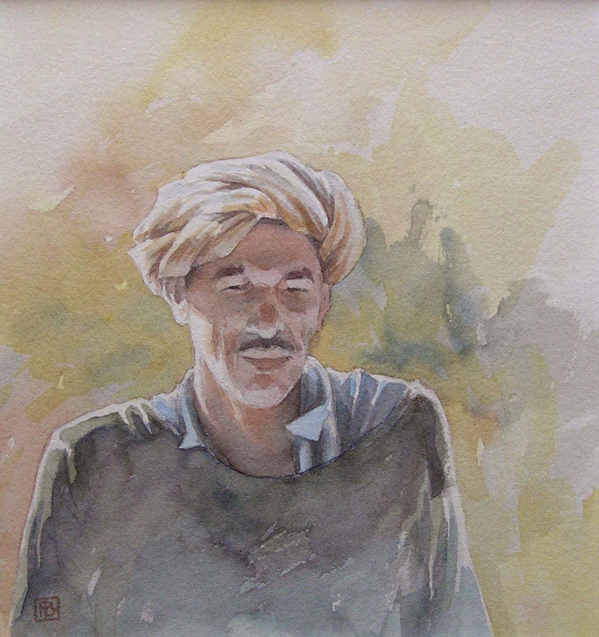 Portret van een Marokkaanse koopman - aquarel - 30 x 40 cm.