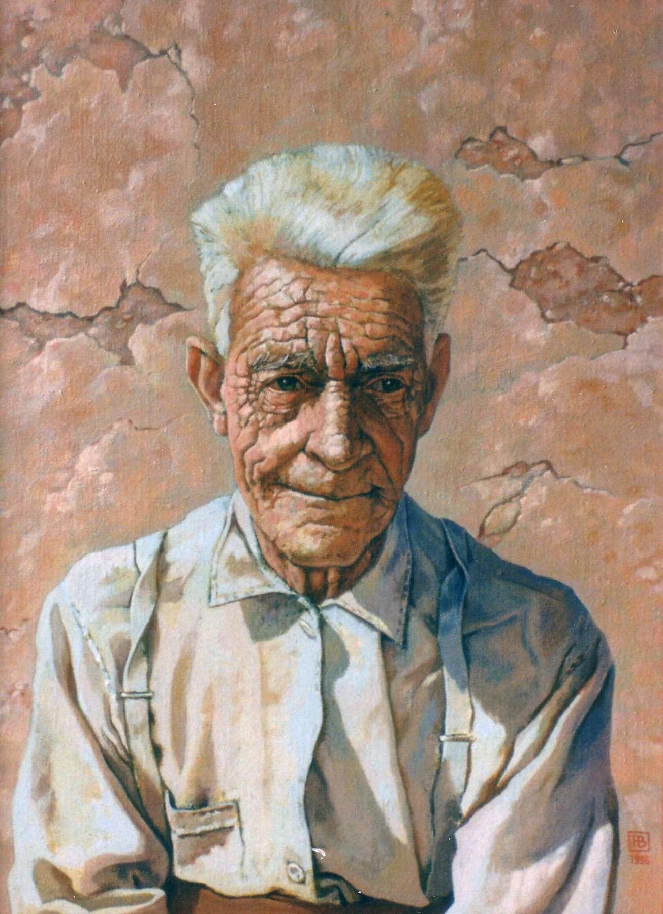 Portret van een oude visser - acrylverf - 50 x 64 cm.