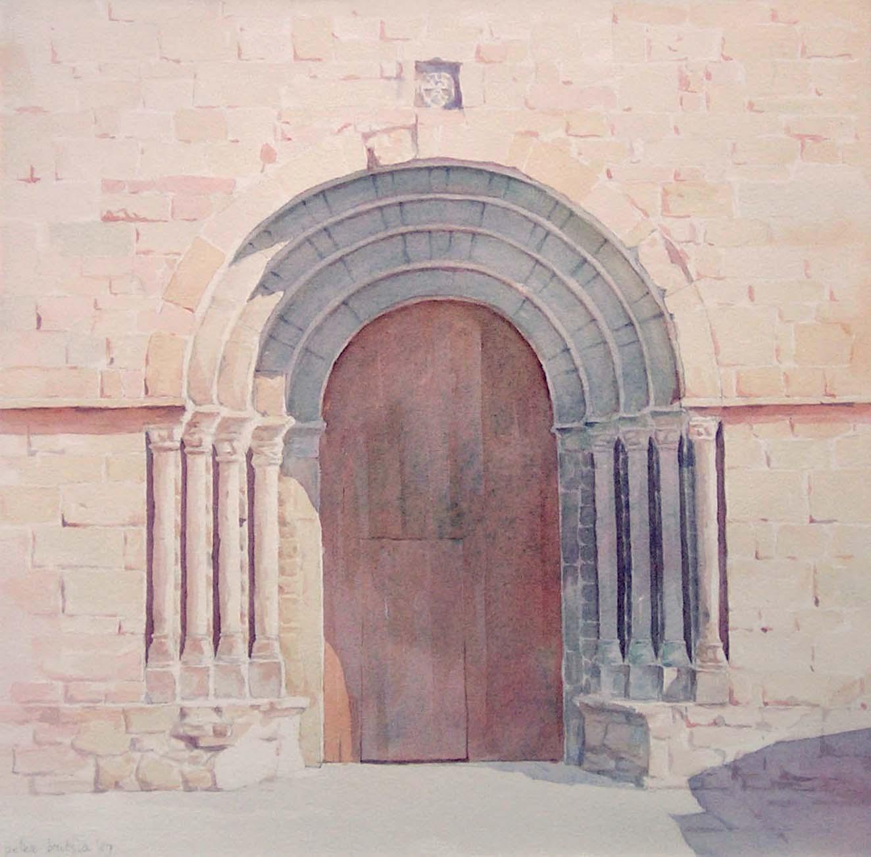 Kerkdeur - Spaanse Pyreneeën - aquarel - 30 x 40 cm.