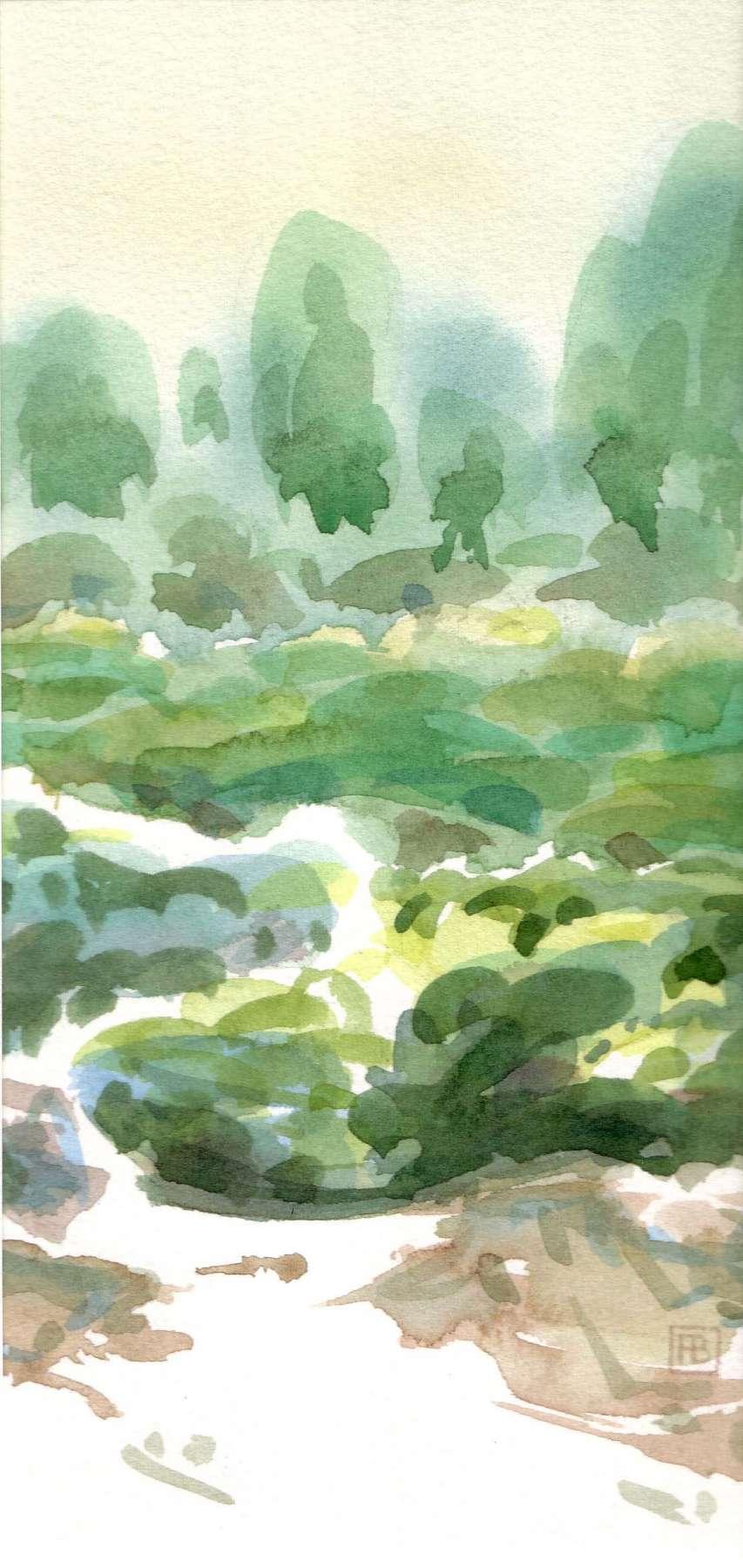 Duingebied bij Nieuw Haamstede 1- aquarel - 18 x 30 cm.