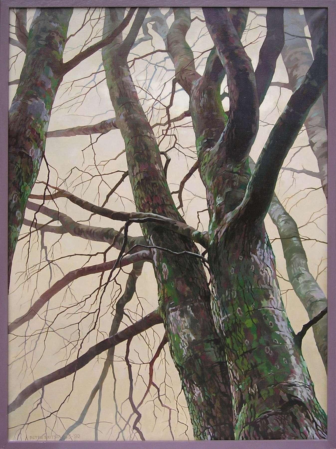 Winterbomen - acrylverf en olieverf - 80 x 100 cm.