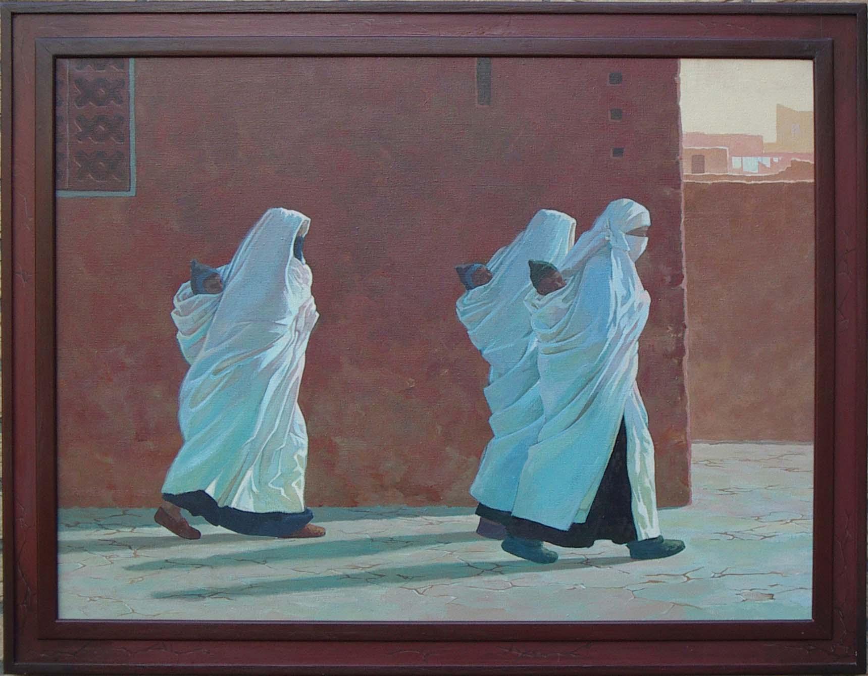 Drie gesluierde vrouwen - acrylverf - 80 x 60 cm.