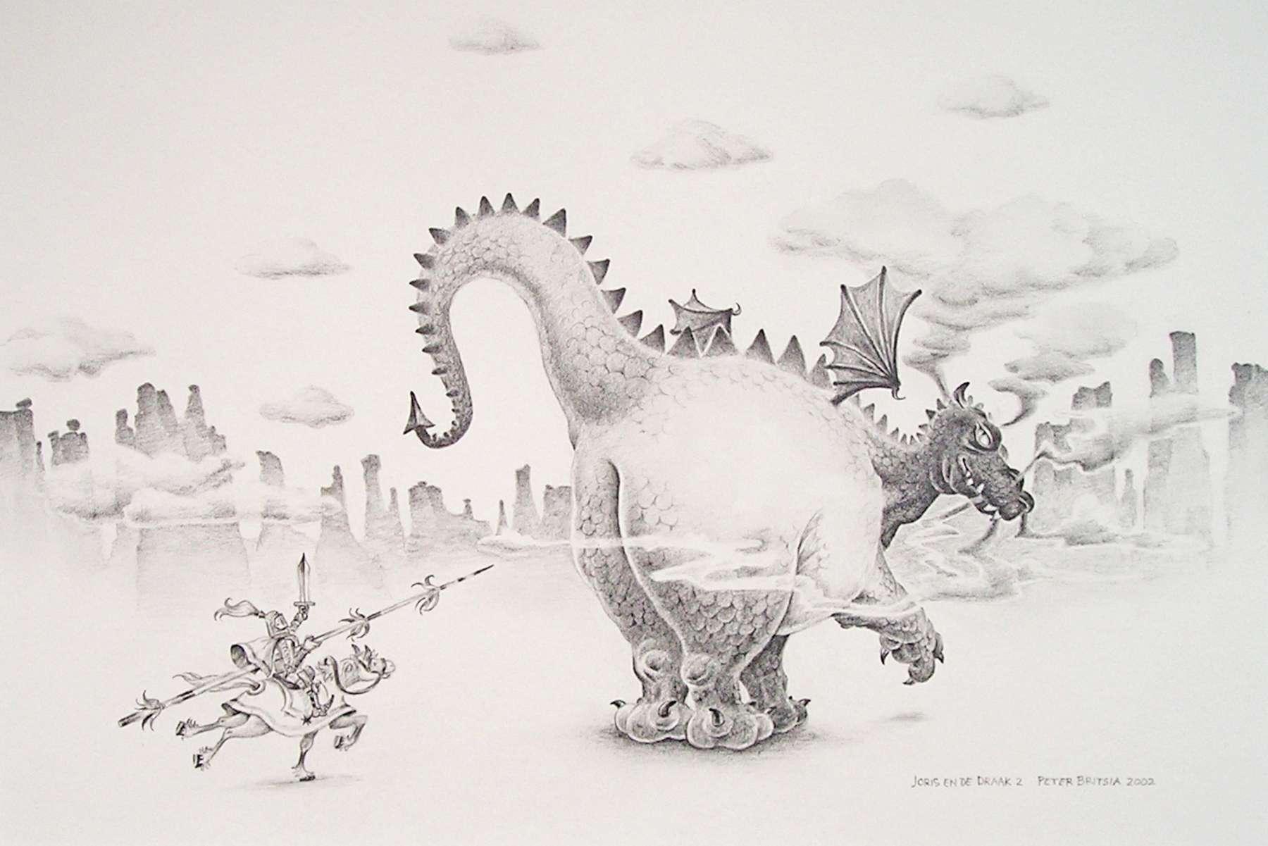 Joris en de draak -2- potloodtekening<br>Met bovenmenselijke moed valt Joris de enorme draak aan. Hij nadert haar van achteren om het voordeel van de verrassing te hebben. Maar heeft de draak echt niet door?