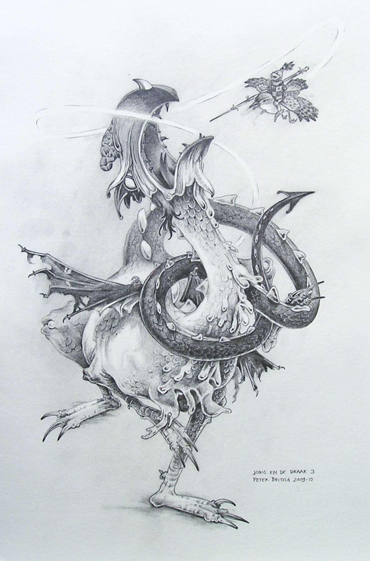 Joris en de draak -3- potloodtekening<br>Op zijn winterkoninkje gezeten cirkelt Joris om de draak heen. De draak wordt steeds kwader, omdat hij dat kleine hapje maar niet te pakken krijgt. Gevangen in zijn eigen web van woede legt het monster zichzelf hopeloos in de knoop.