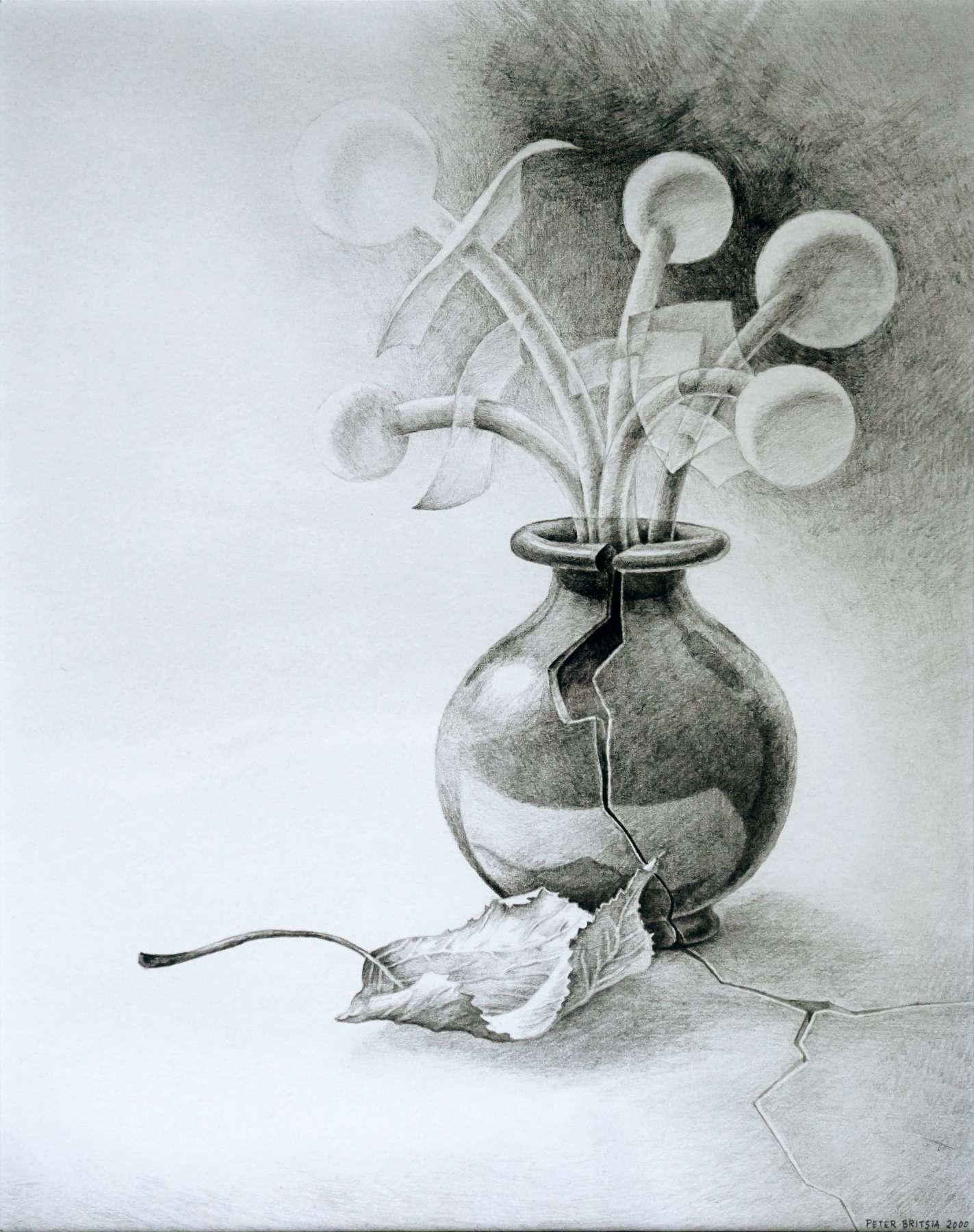 Vaas met bedenksels - potloodtekening<br>Een vaas met bloemknoppen en bladeren. Wat is echt en wat is een bedenksel?