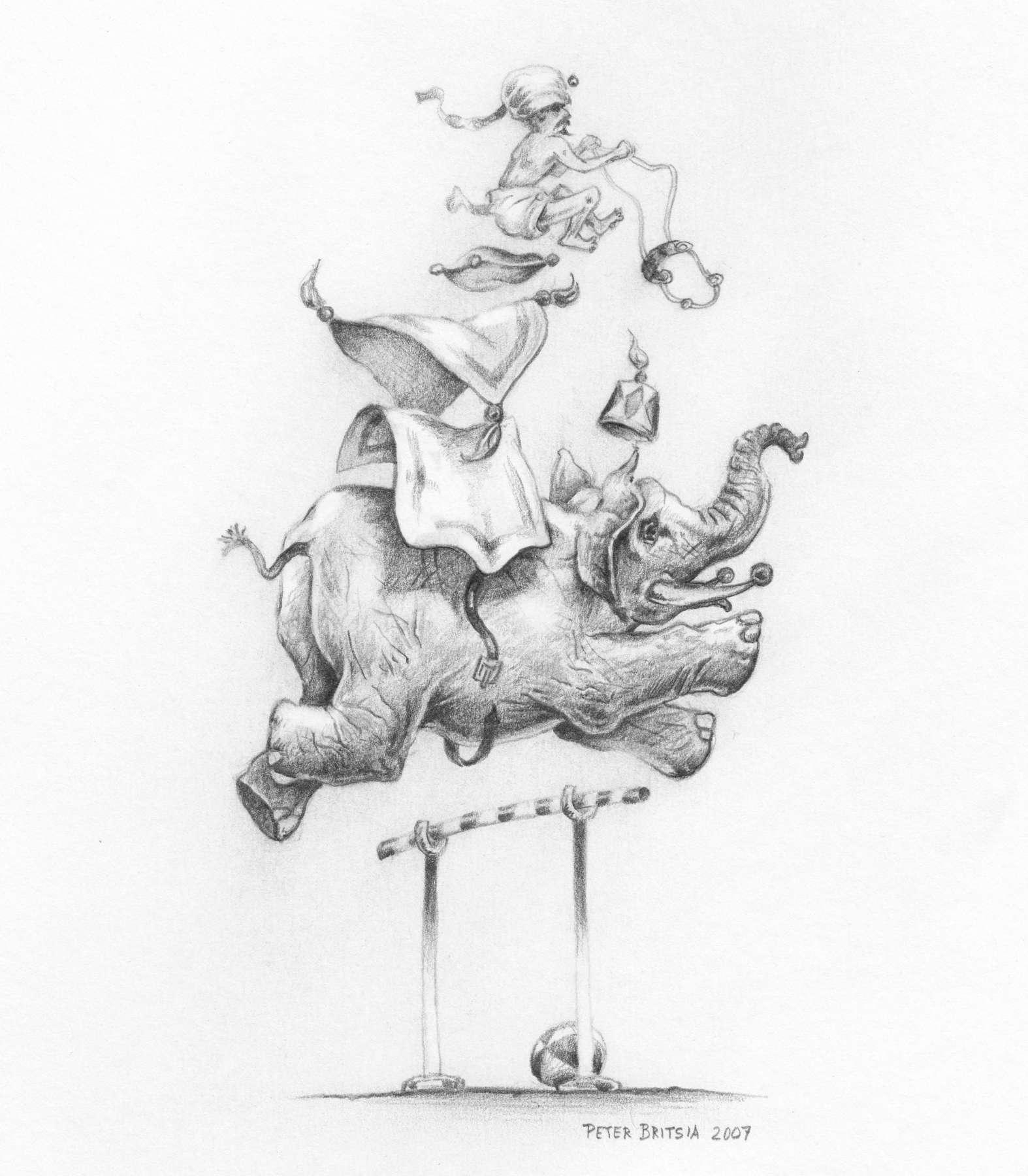 Hopla - potloodtekening<br>De gedresseerde olifant en zijn Indische berijder tarten de zwaartekracht. Dat gaat niet zomaar in één keer goed.