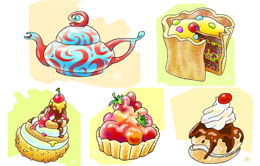 High tea<br>Het water loopt je in de mond. Deze serie taartjes moet bij klanten de trek opwekken door middel van smakelijke kleuren, mooie structuren en een vlotte penseelstreek. Opdracht banketbakkerij en koffiehuis.