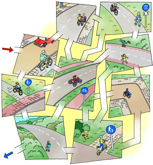 Verkeerssituaties - kijkplaat met opdrachten<br>Wat is goed, wat is fout? Alleen via de goede situaties kun je de weg door het doolhof vinden. <br>Verkeersexamen voor basiseducatie - Noordhoff Uitgevers