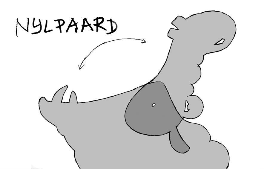 Schaduw theater - theatervoorstelling van Ellen Bavinck voor peuters<br>Ontwerp. Op het einde van de voorstelling komt het nijlpaard om het stemverheffing een einde te maken aan alle onbegrip.