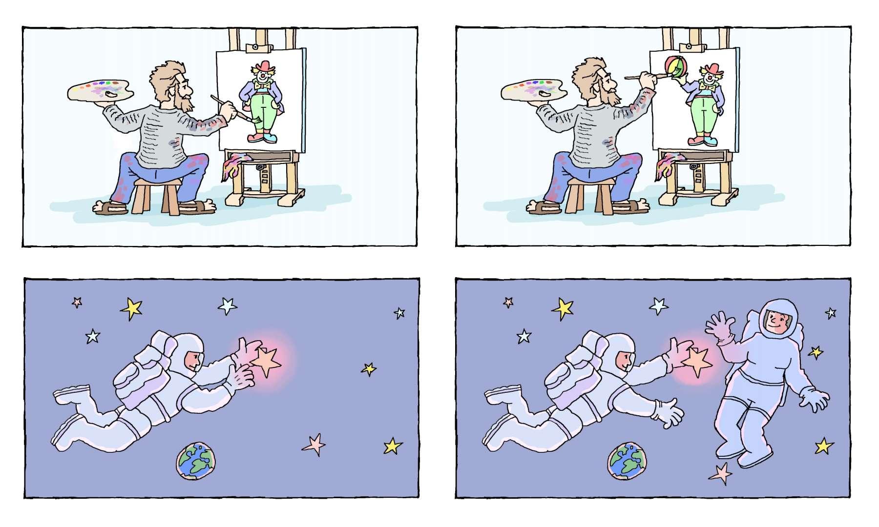 de schilder schildert de clown - de schilder schildert de bal van de clown<br>de astronaut plukt een ster - de astronaut plukt een ster voor de austronautenvrouw