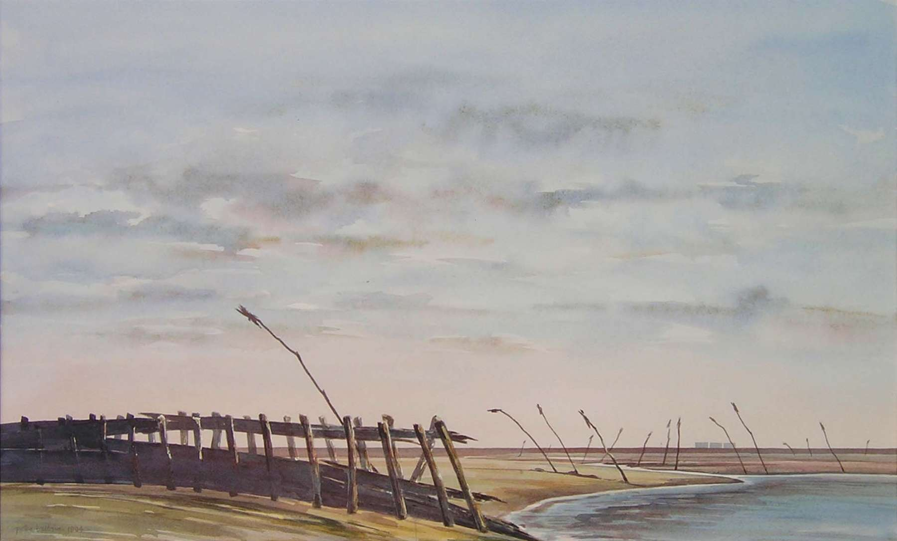 Waddenzee - aquarel - 80 x 60 cm.