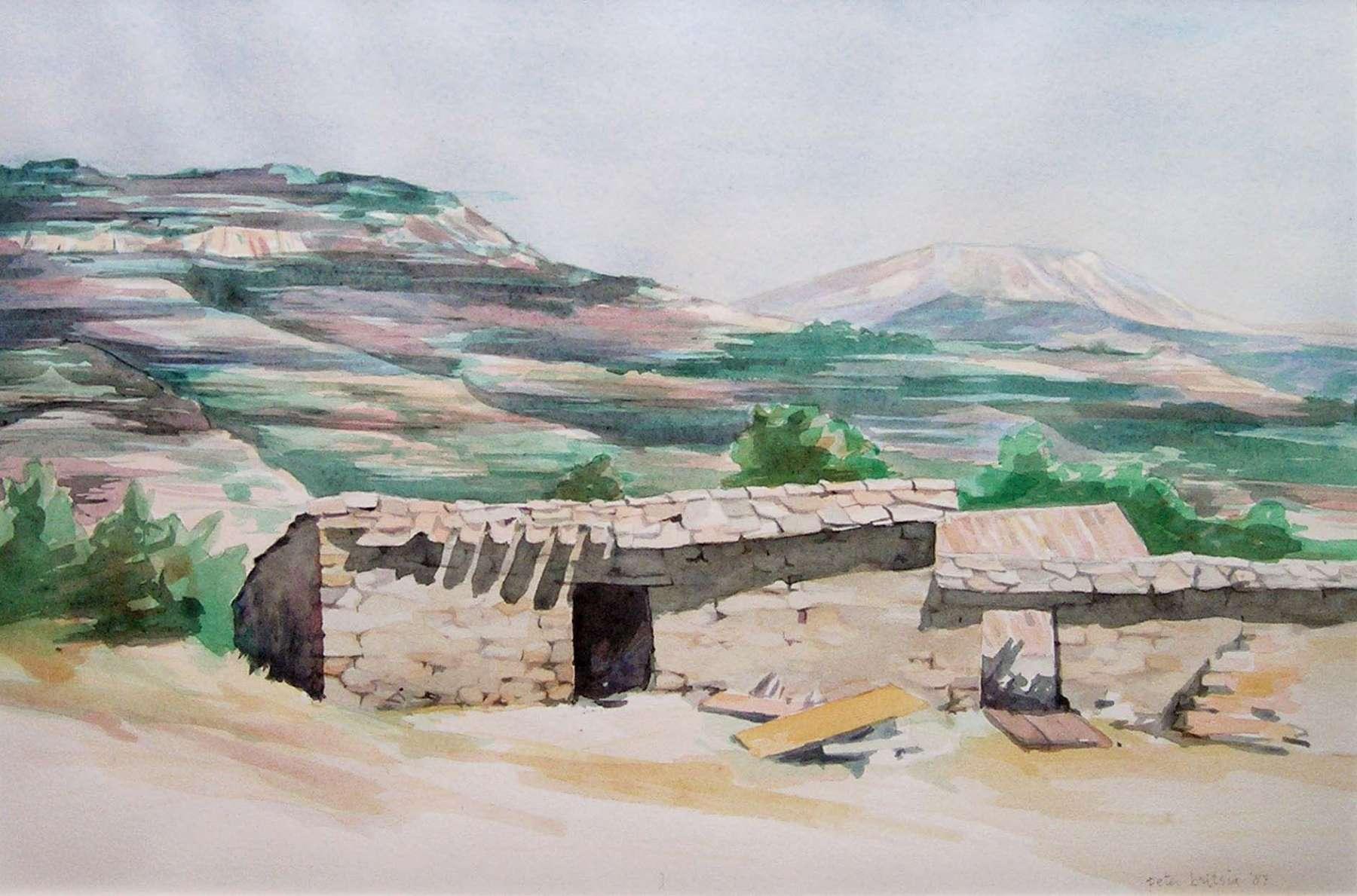 Oude schuur - Spaanse Pyreneeën - aquarel - 40 x 30 cm.