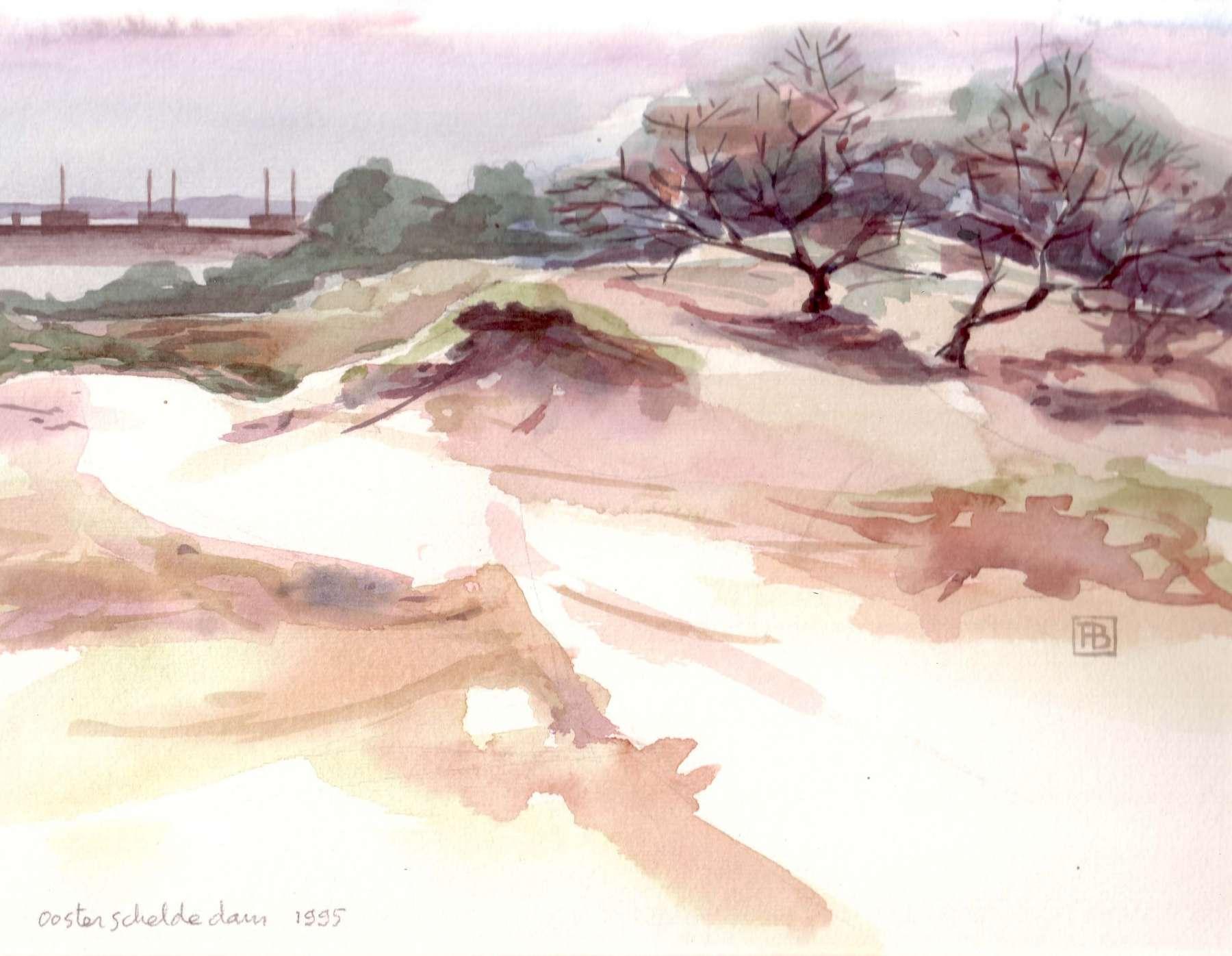 Duinen bij Walcheren - aquarel - 16 x 11 cm.