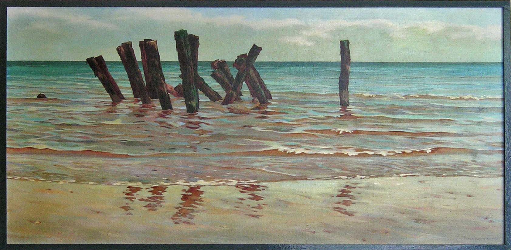 Zee met oude aanlegsteiger  - acrylverf - 125 x 60 cm.