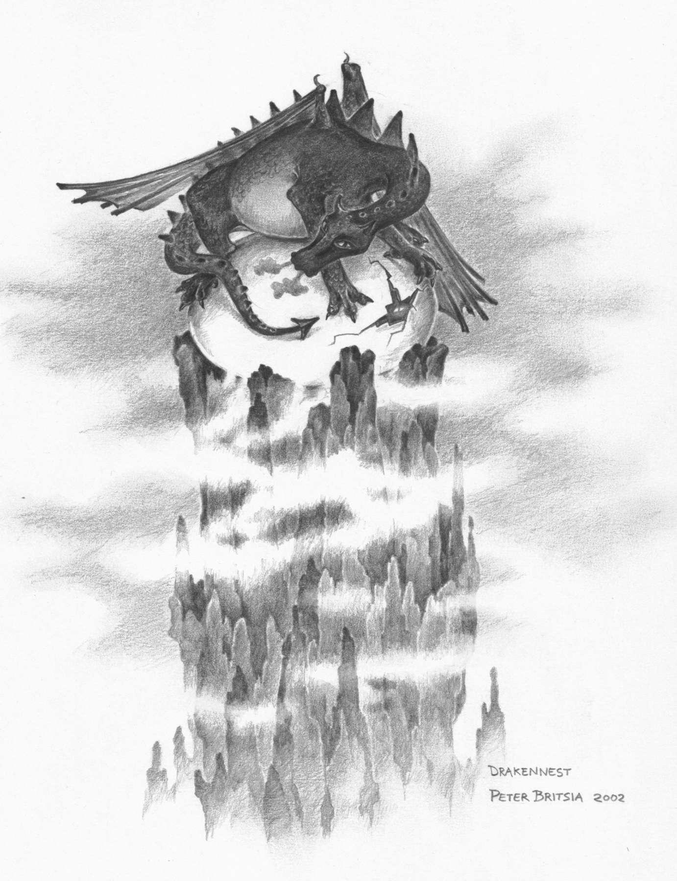 Drakennest - potloodtekening<br>De top van een werkende vulkaan is de enige plaats waar een drakenei kan worden uitgebroed. Dit is wel een bijzonder groot exemplaar ei, en zo te zien kan het ieder moment uitkomen...