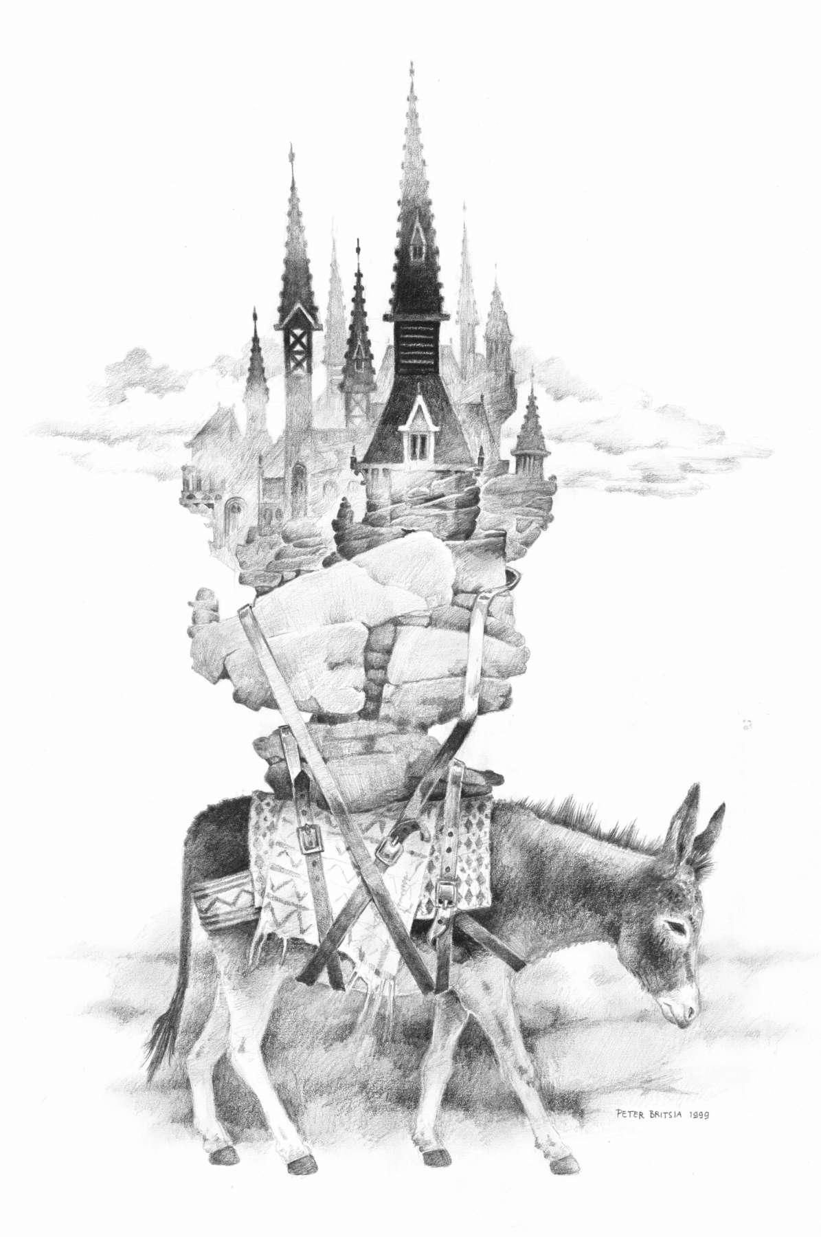 Lastdier - potloodtekening<br>Is de enorme last op de rug van het ezeltje een stapel stenen of een sprookjesachtige stad? Heeft het lastdier enig idee wat het op de rug draagt, of is het misschien zijn eigen fantasie?