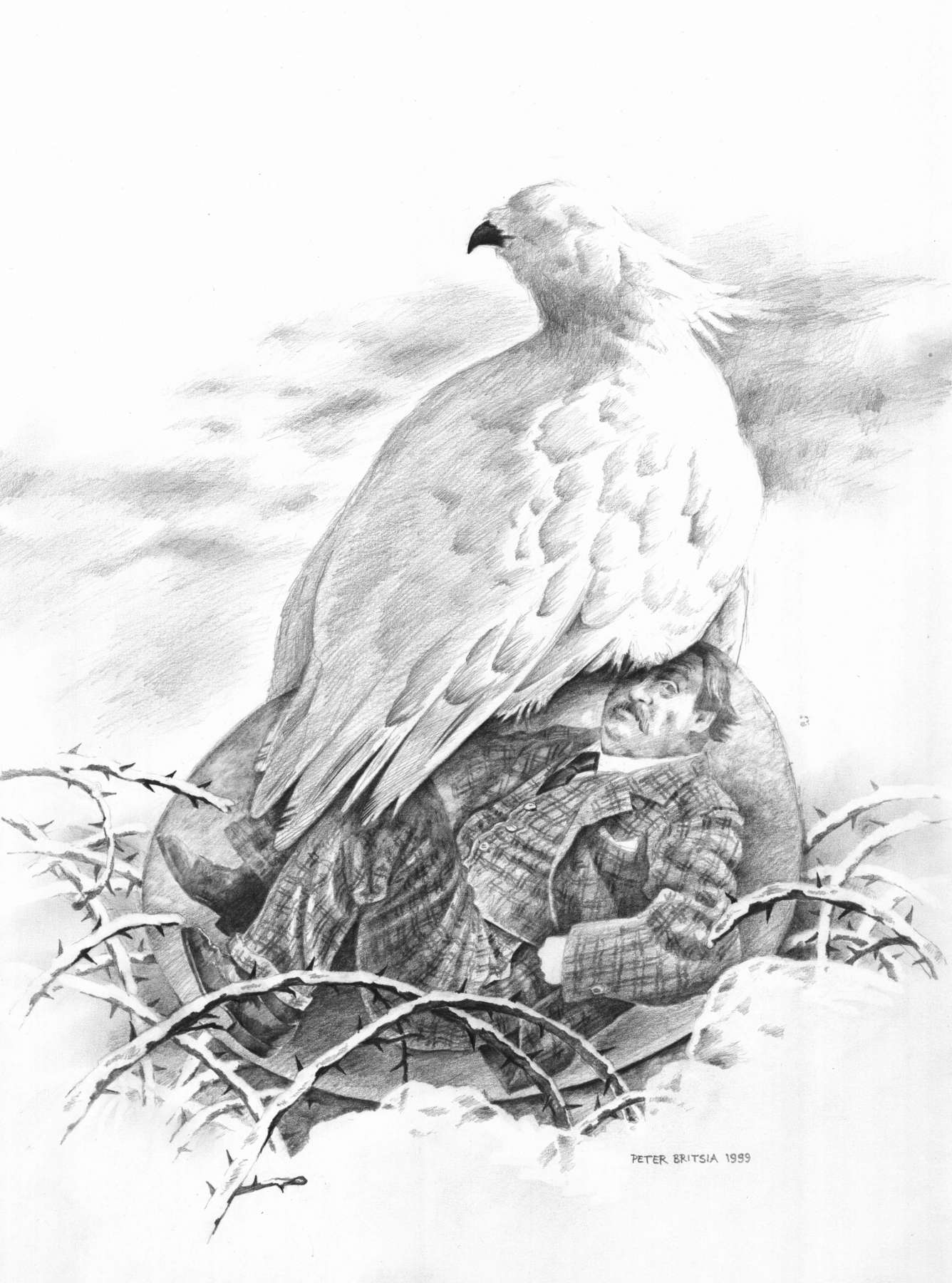 Blinde liefde - potloodtekening<br>De sneeuwhoender blijft maar doorbroeden, terwijl in haar glazen ei haar broedsel allang volwassen is.