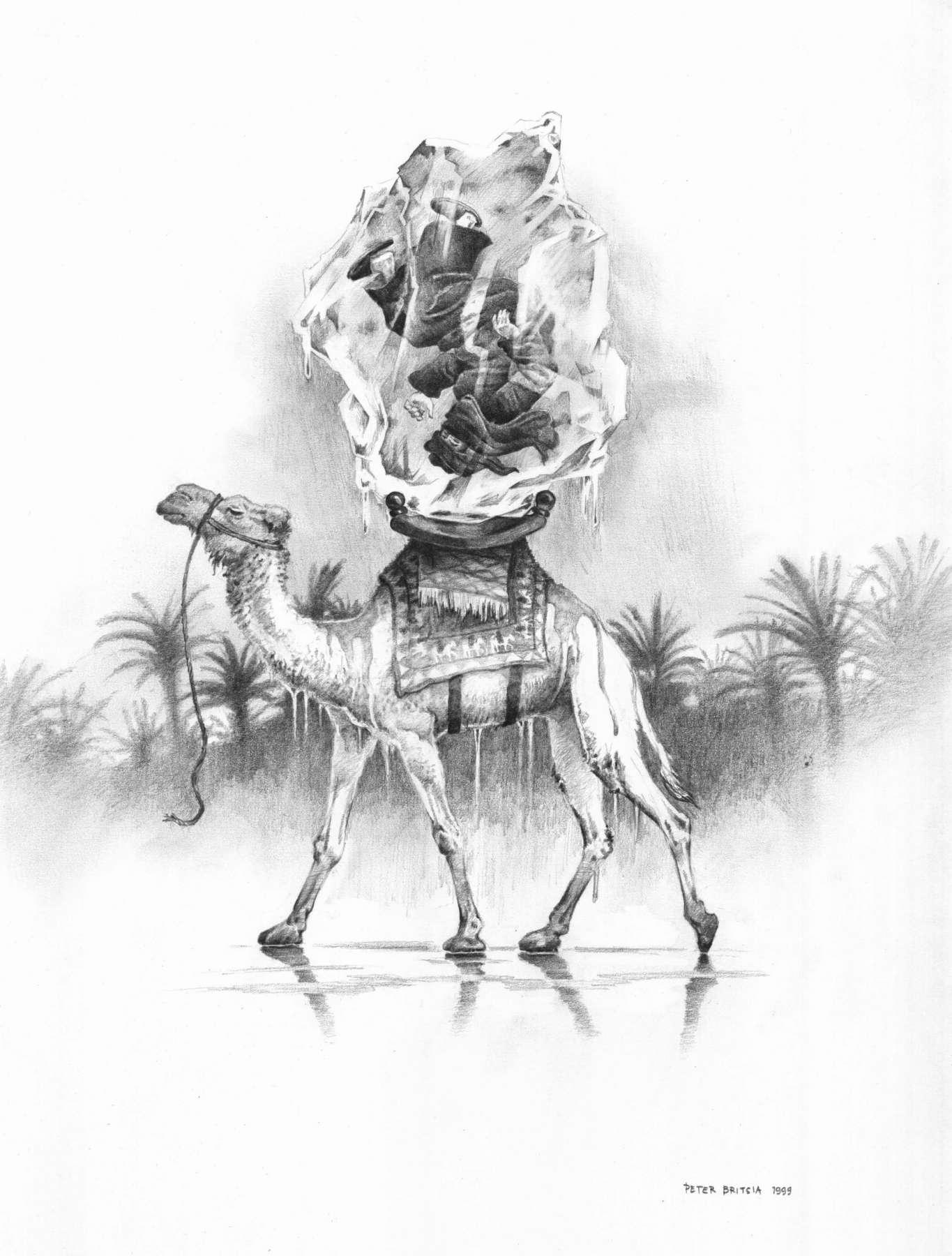 De zwarte ruiter - potloodtekening<br>Warm en koud als onmogelijke tegenstelling: De zwarte ruiter zit als een foetus gevangen in een enorm ijsblok. De kameel loopt zoals altijd zijn dagelijkse route door de zinderende woestijn.