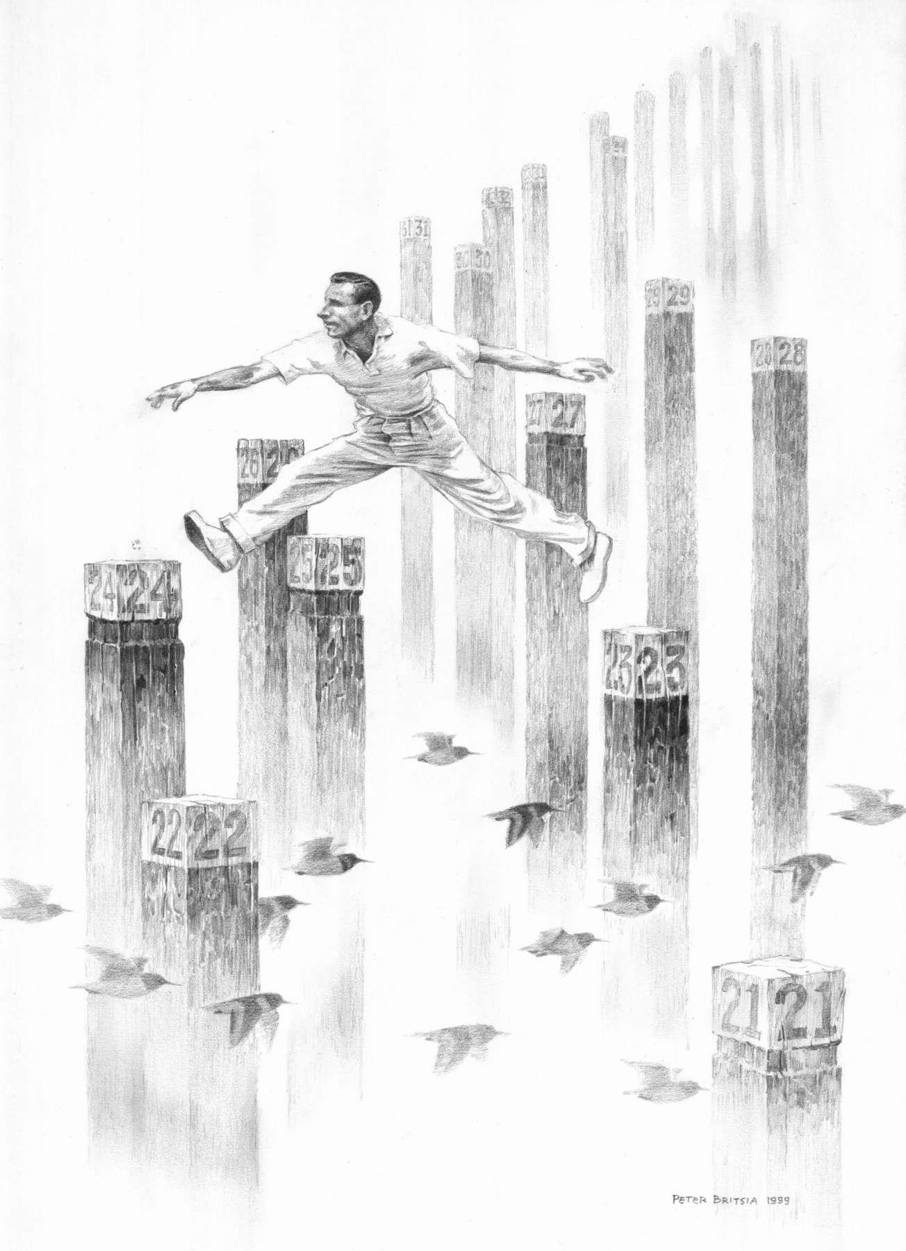 Paalspringer - potloodtekening<br>Met grote moeite volgt de paalspringer de nummers op de wedstrijdpalen. Eeuwige roem wacht hem als hij het tot een goed einde weet te brengen. De vogels snappen niets van al dat gewichtige gedoe. Ze vliegen gewoon waar ze naartoe moeten.